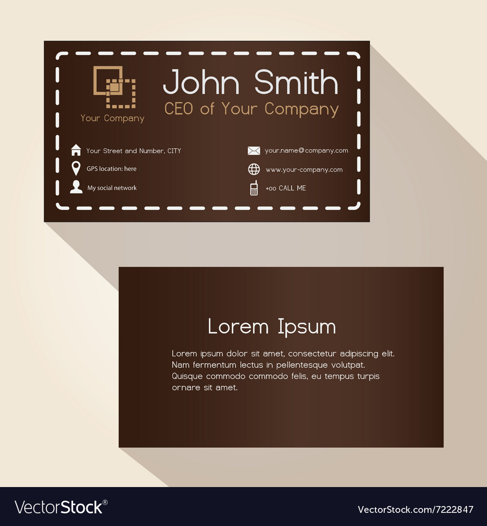 Simple brown stitched like style business card Vector Image