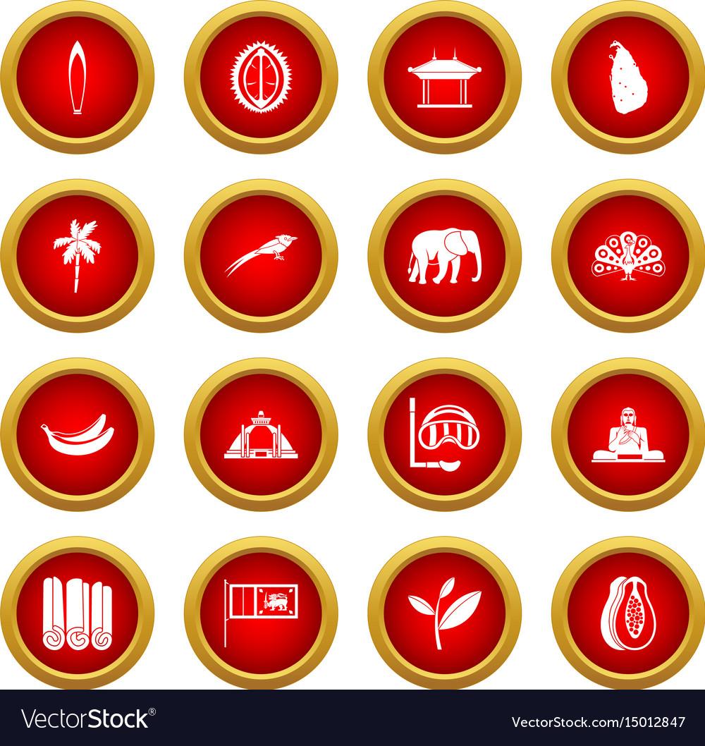 Sri lanka travel icon red circle set vector image