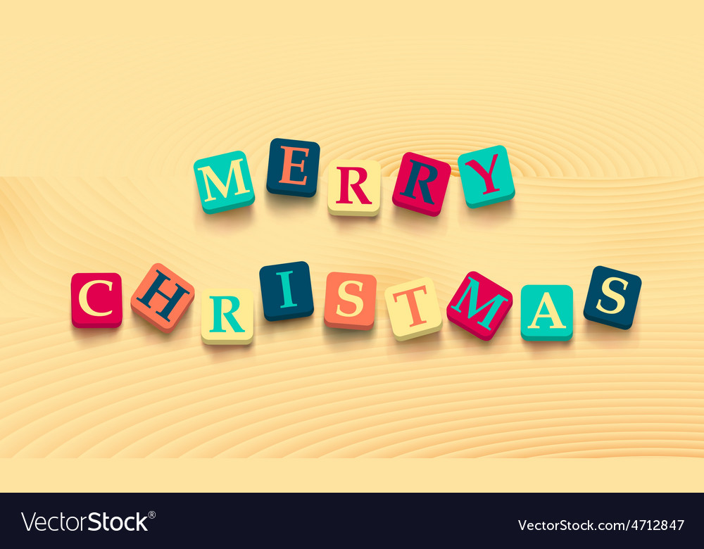 Words merry christmas with colorful blocks Vector Image