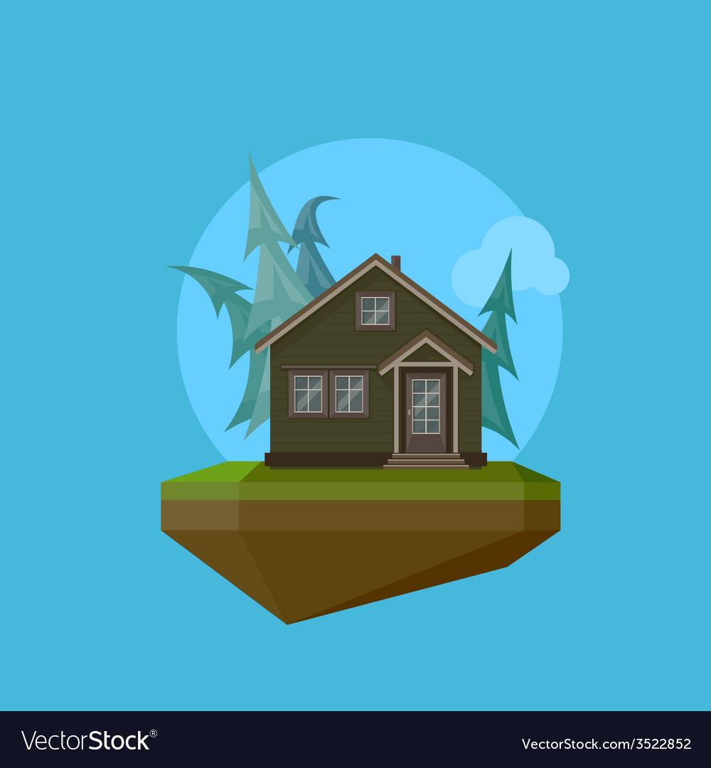 A cartoon house in flat polygonal style and flying