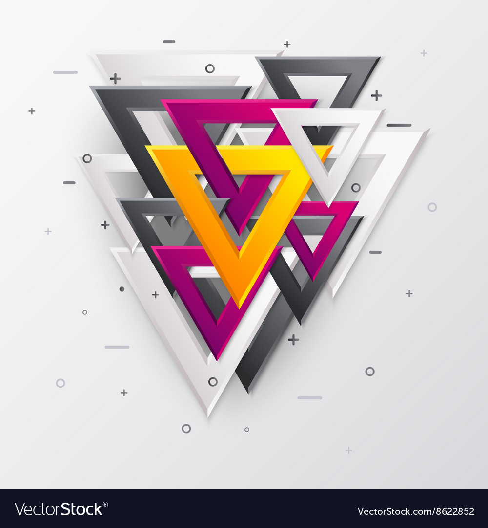 Abstract background with multicolor 3d triangles