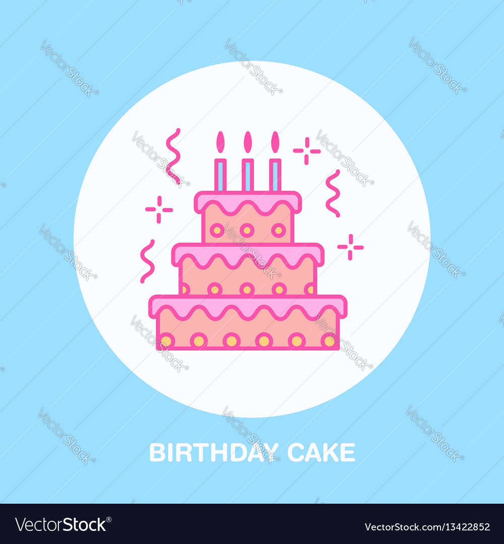 Birthday cake line icon logo for bakery