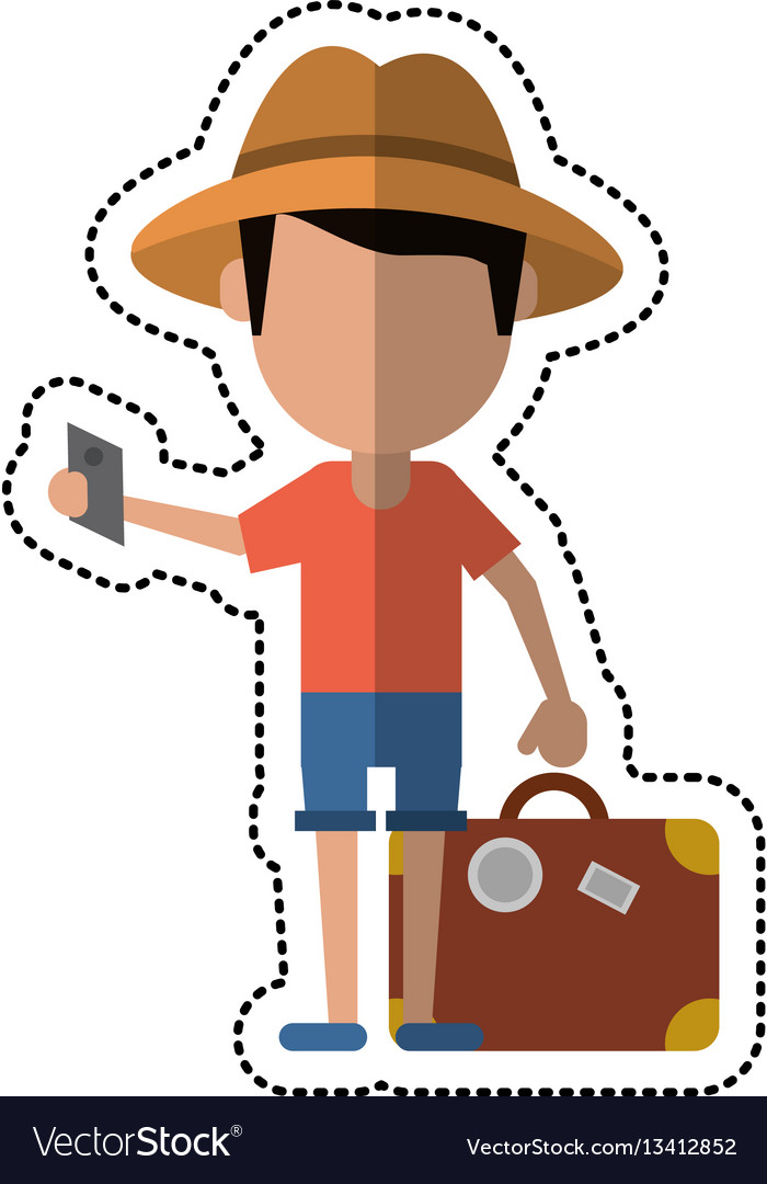 Cartoon traveler man with suitcase passport vector image