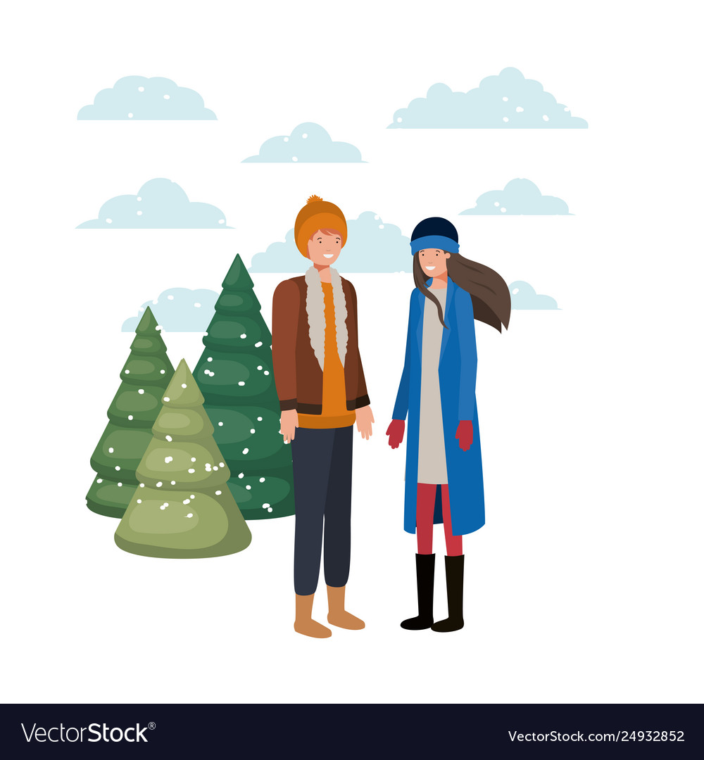 Couple with winter clothes and winter pine avatar