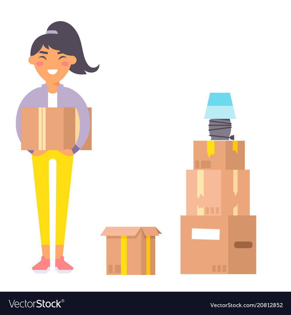 Happy young woman flat people moving in new vector image