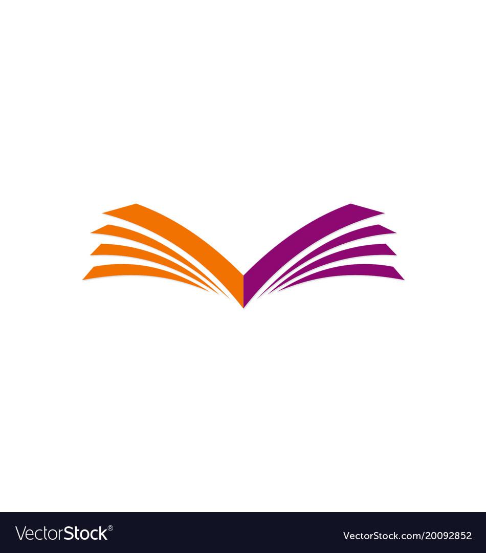 open book letter v logo royalty free vector image