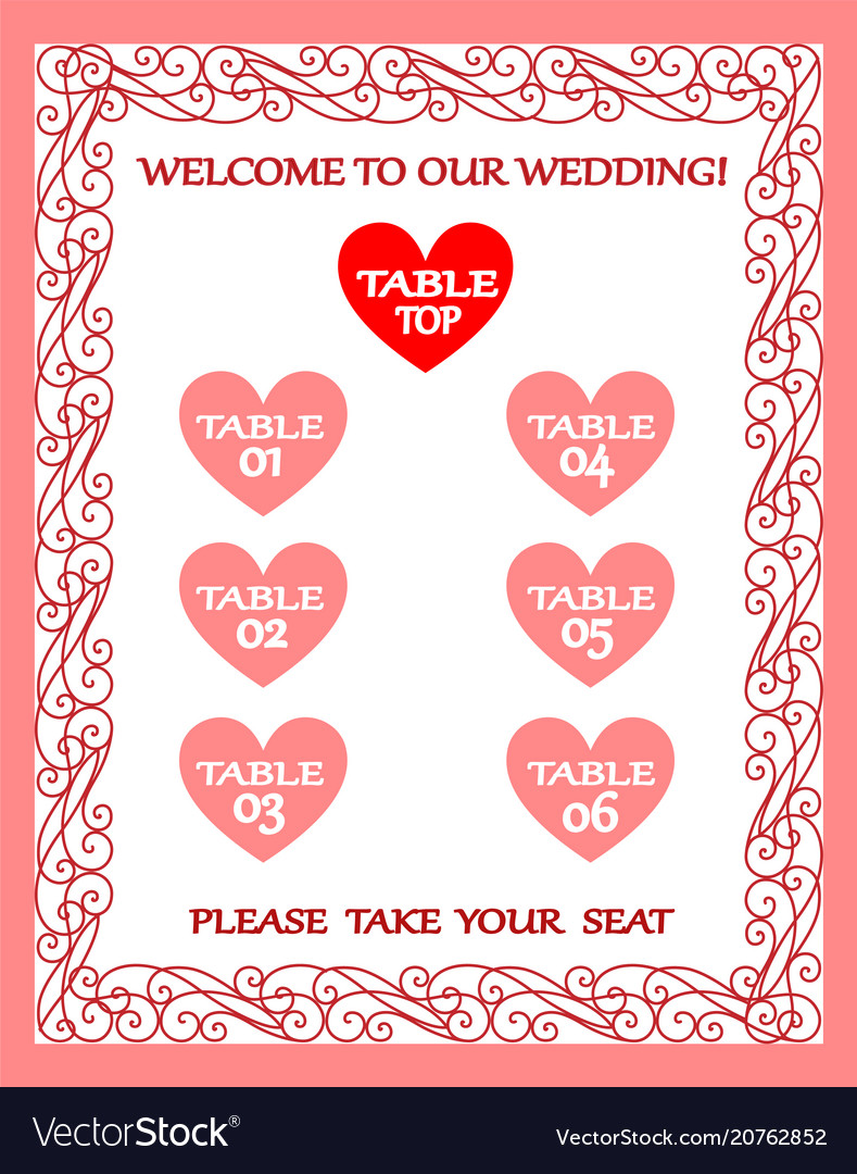 Wedding table chart seating plan vintage frame Vector Image