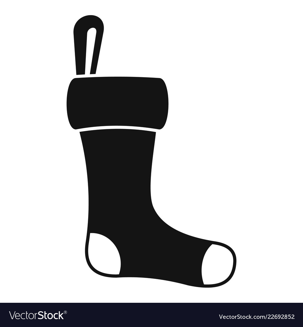 Winter sock icon simple style