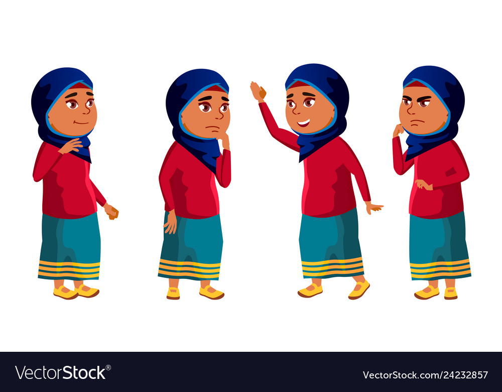 Arab muslim girl kid poses set high