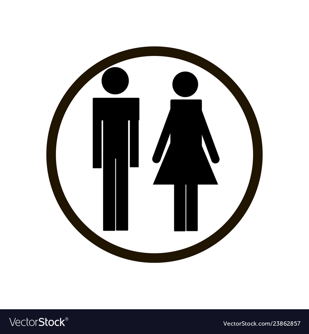 Black male and female toilet sign in circle on