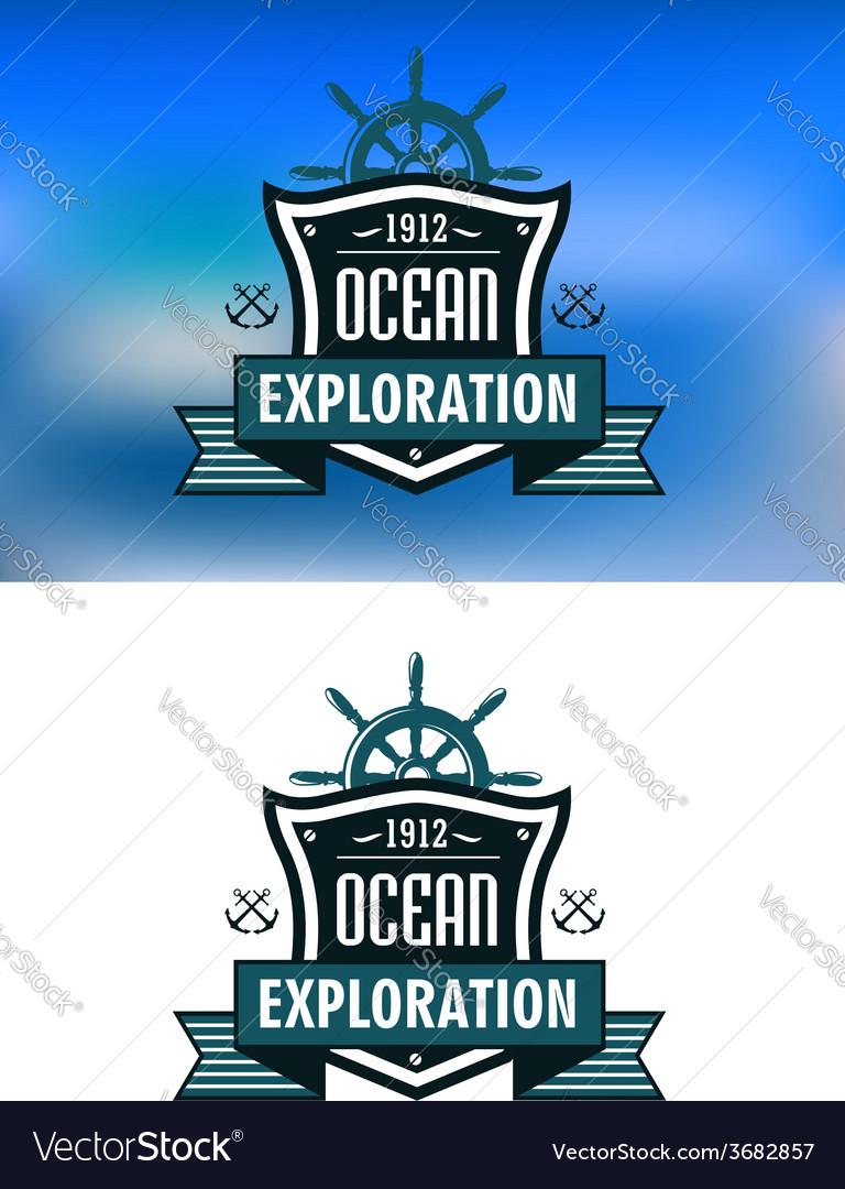 Blue nautical heraldic emblems or logo