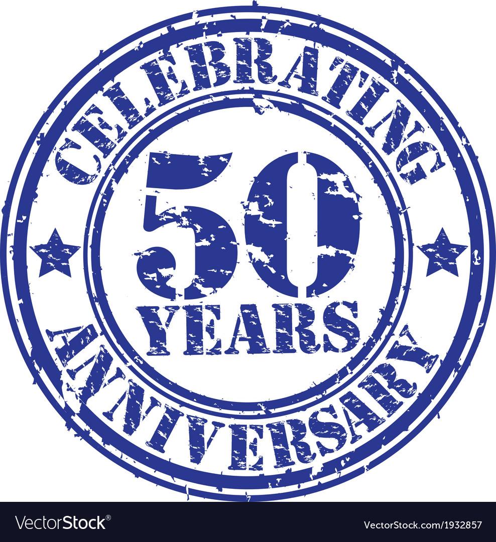 Celebrating 50 years anniversary grunge rubber sta vector image