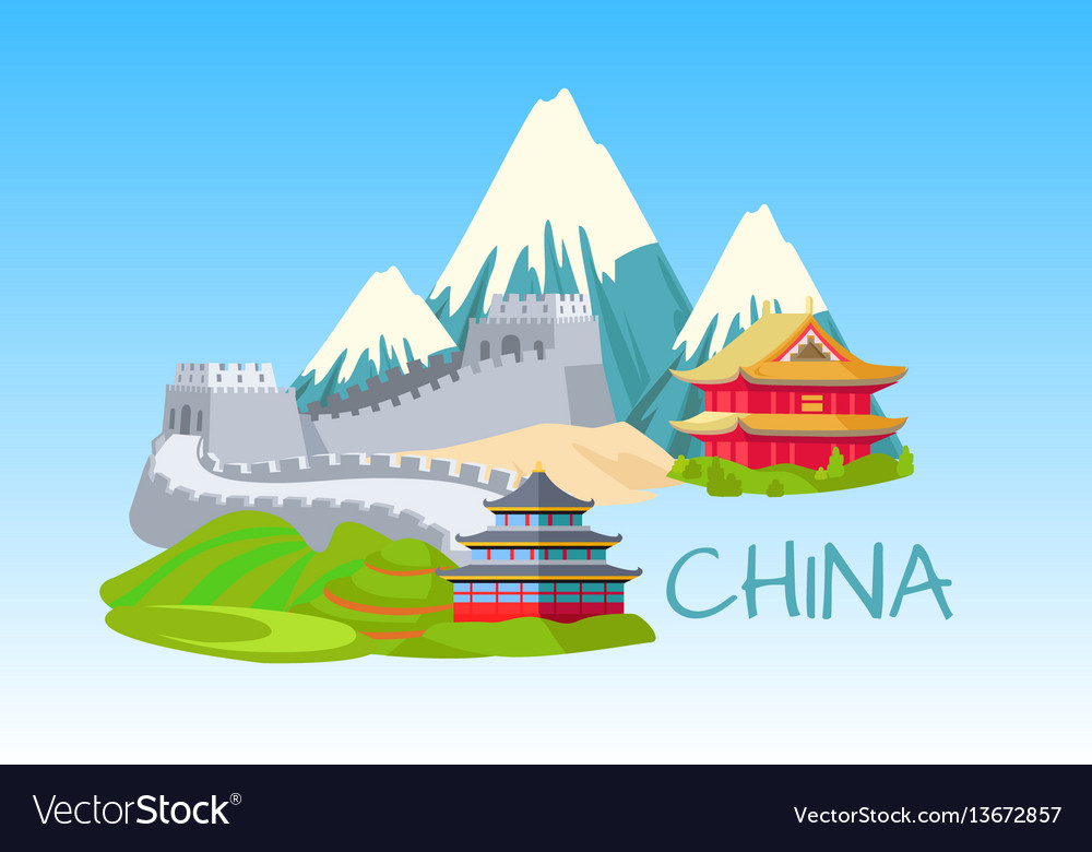 China sightseeing elements for visiting on blue