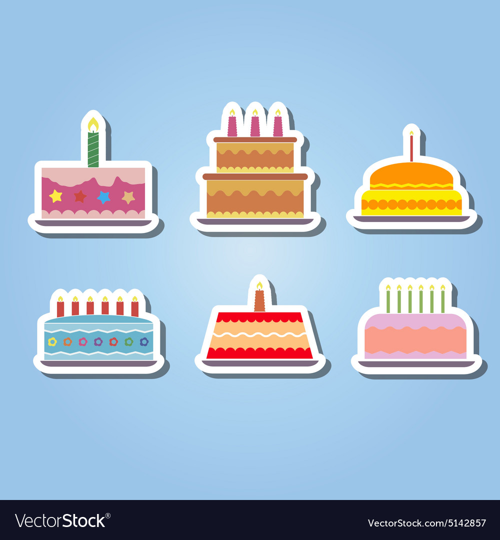 Color Icons With Birthday Cake Royalty Free Vector Image