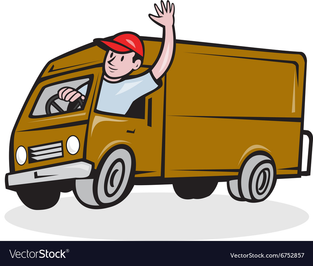 Man With A Van >> Delivery Man Waving Driving Van Cartoon Royalty Free Vector