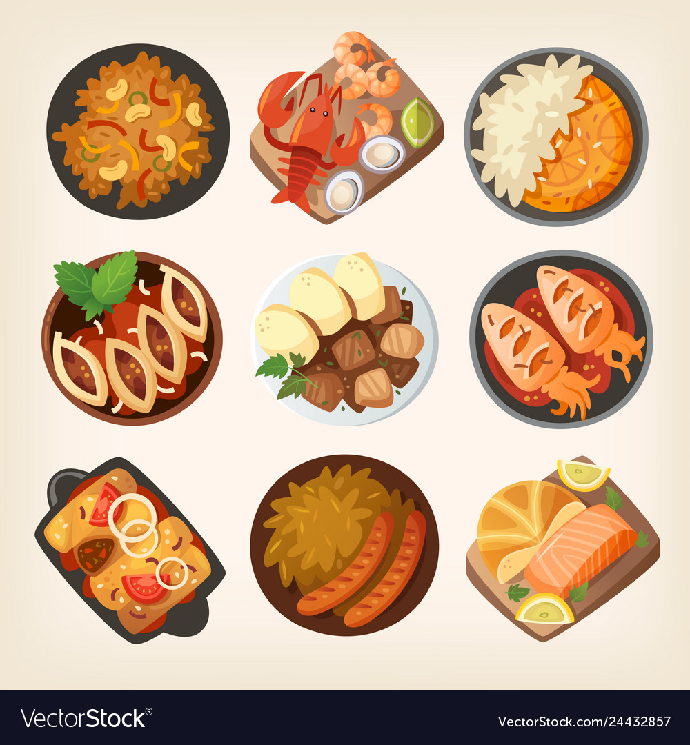 Dinner dishes in different countries of the world