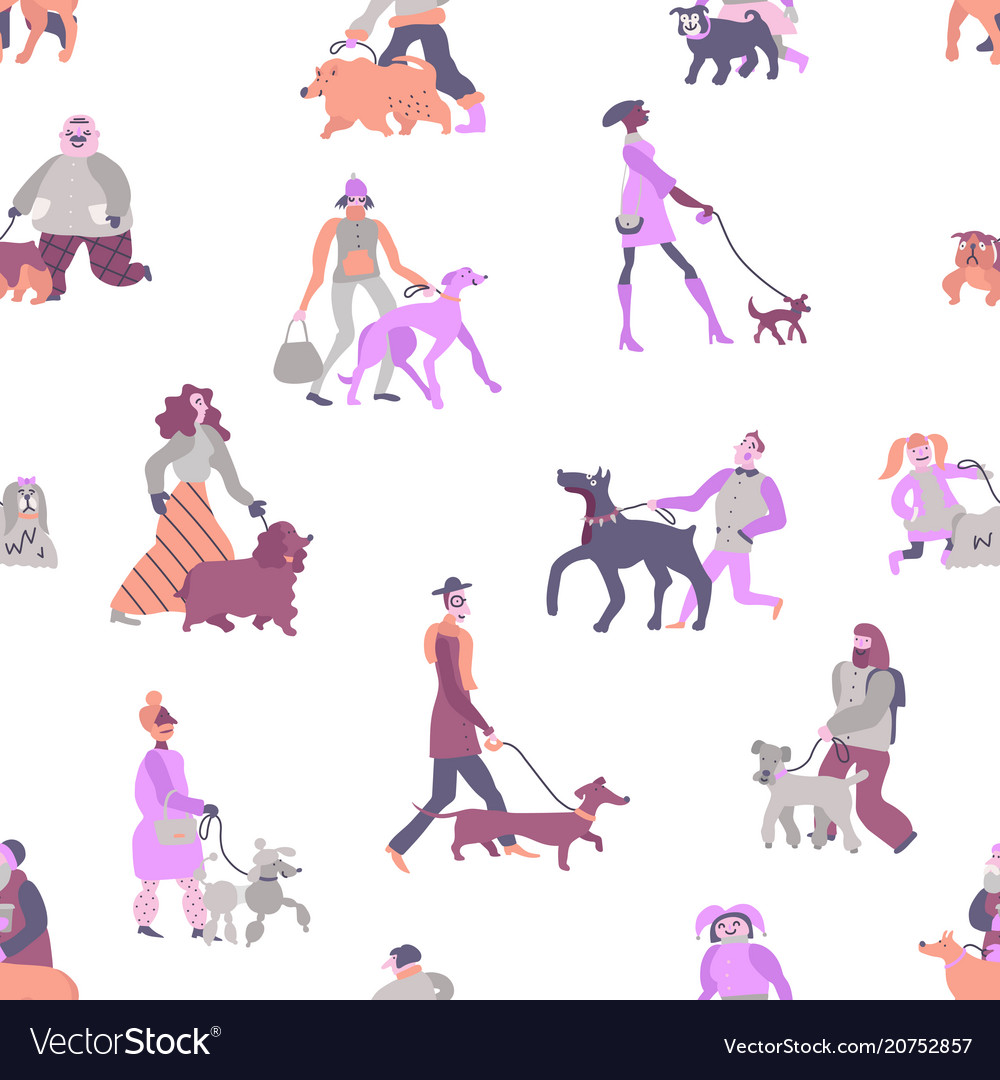 Dog owners seamless pattern