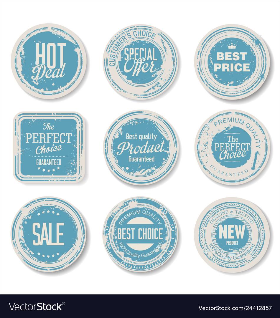 Grounge round paper stickers 4