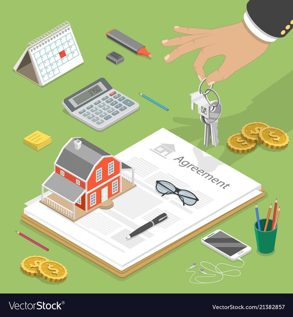 House buying flat isometric concept