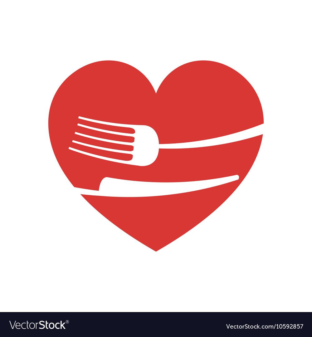 Icon Fork Knife Heart Kitchen Design Vector Image