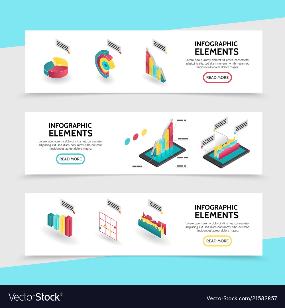 Isometric infographic elements horizontal banners
