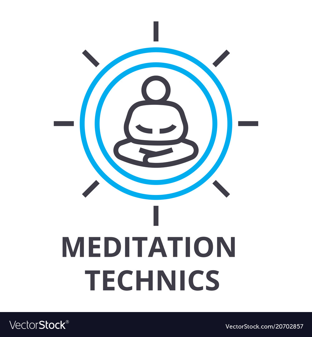 Meditation technics thin line icon sign symbol