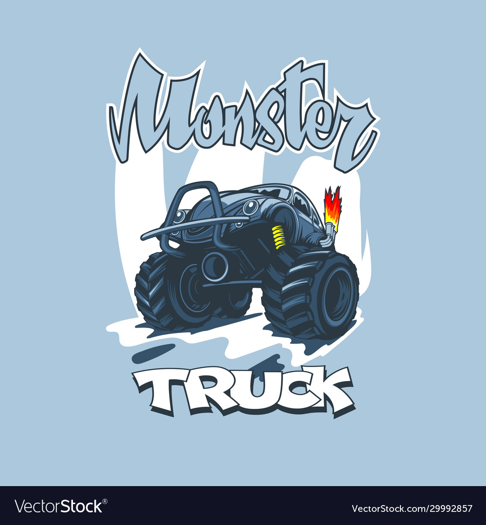 Monster truck in cartoon style on a blue
