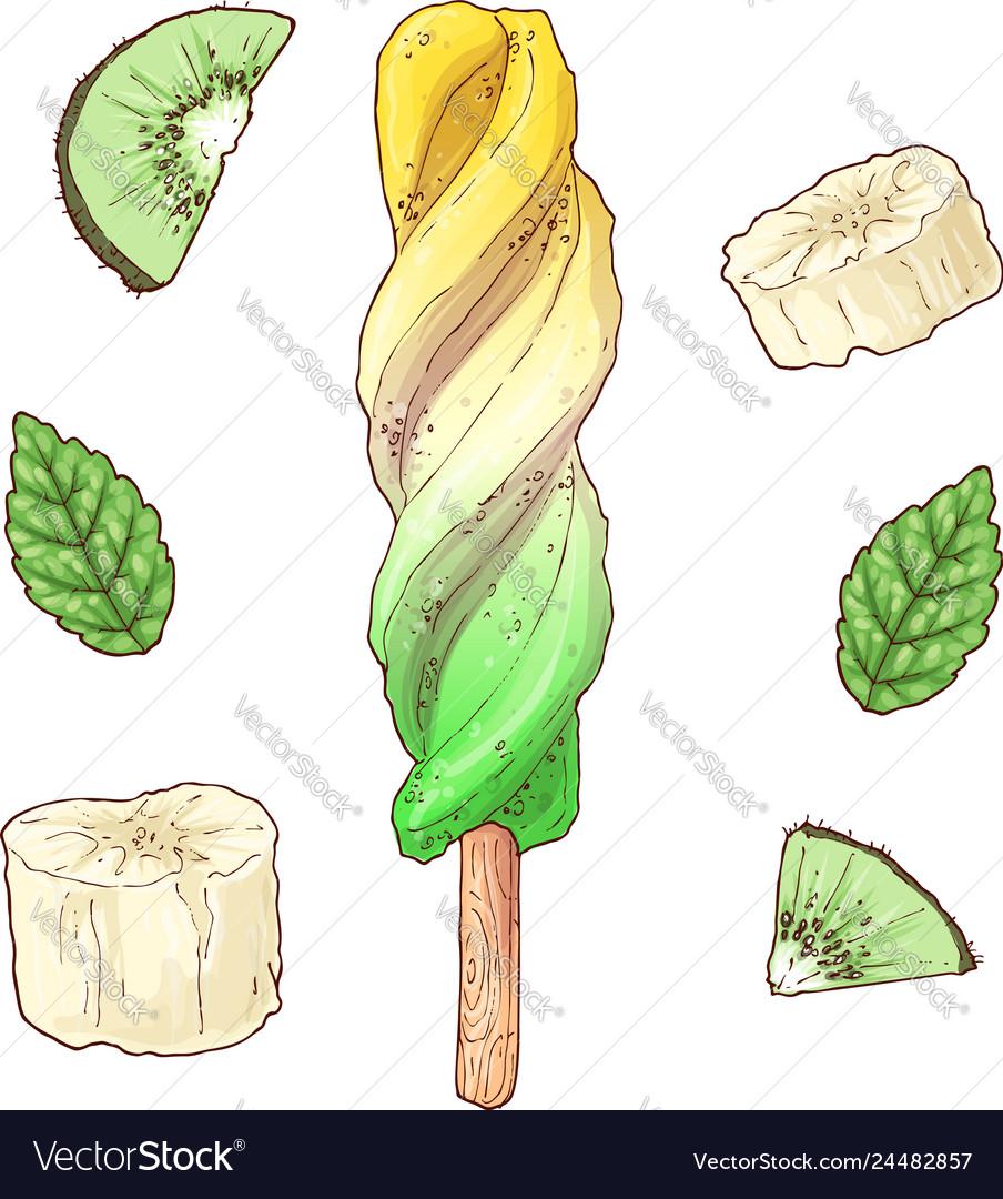 Set kiwi banana lemon ice cream