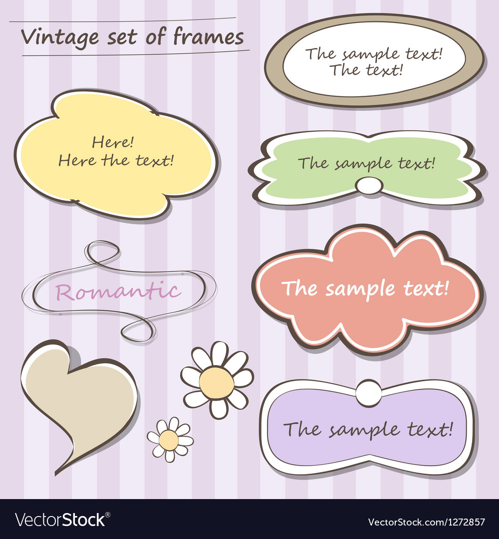 Vintage set of frames vector image