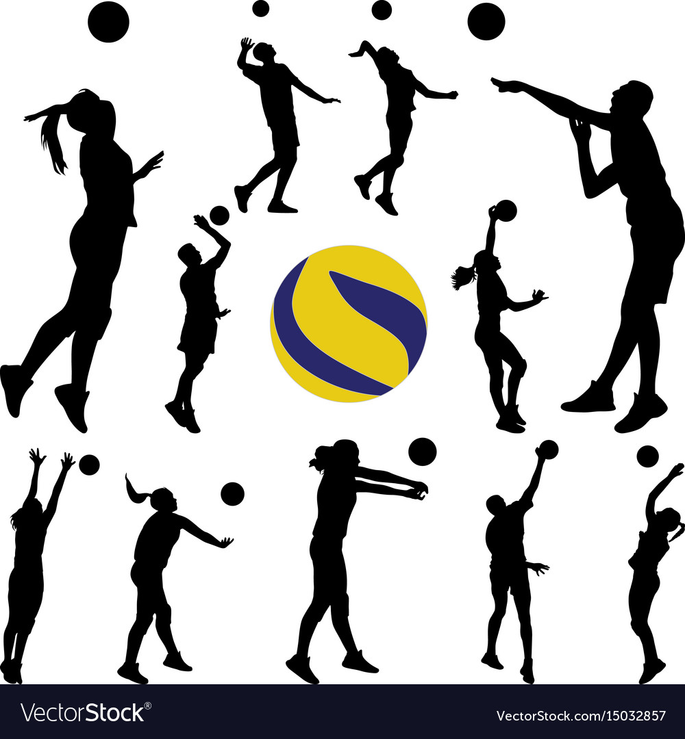 Volleyball man and woman player