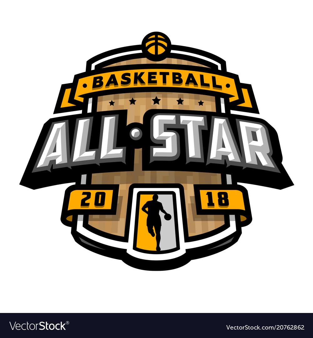 All stars of basketball logo emblem