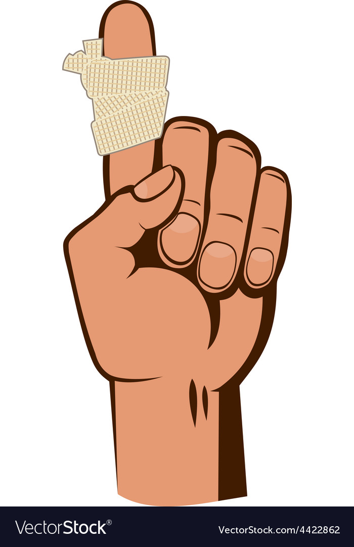 Bandaged finger vector image