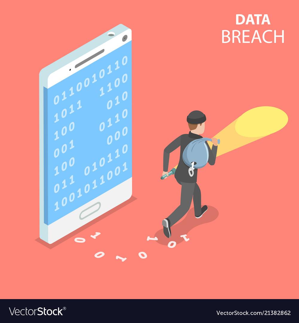 Data breach flat isometric concept