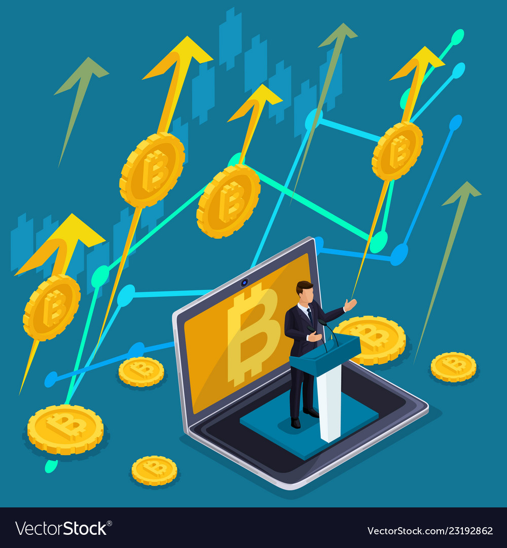 Isometric business concept crypto currency bitcoin