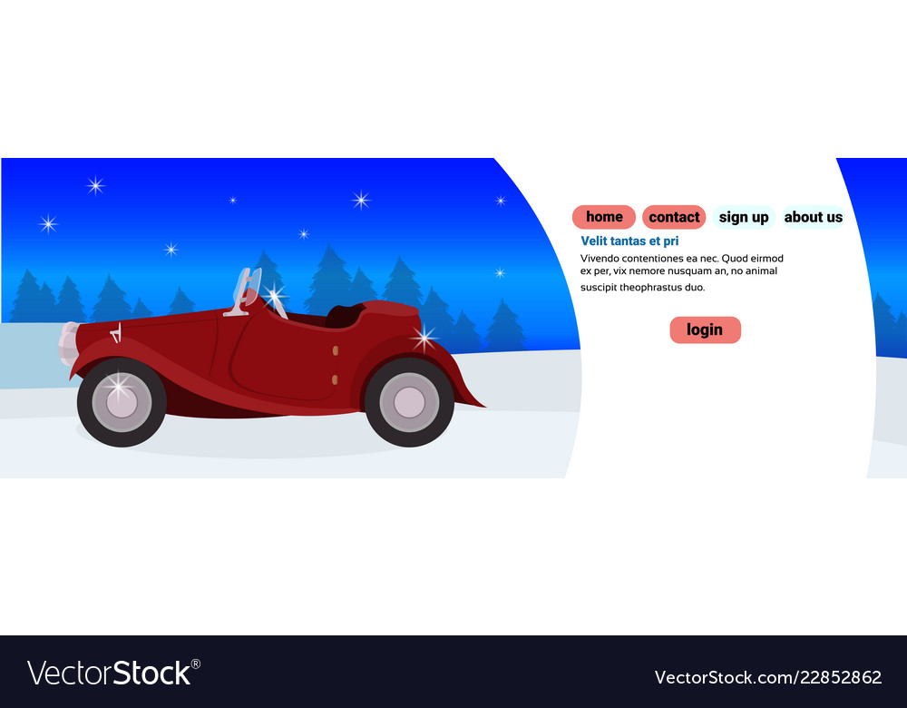 Red retro car happy new year merry christmas