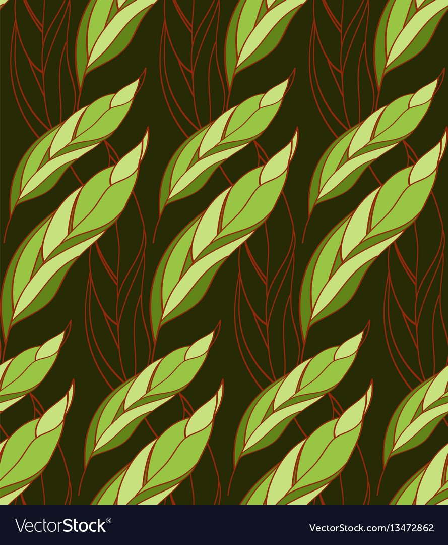 Seamless floral pattern of leaves on a dark