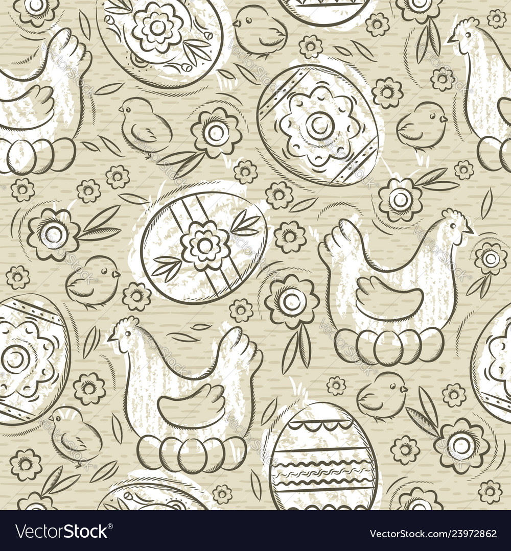 Seamless pattern with easter eggs flowers leafs