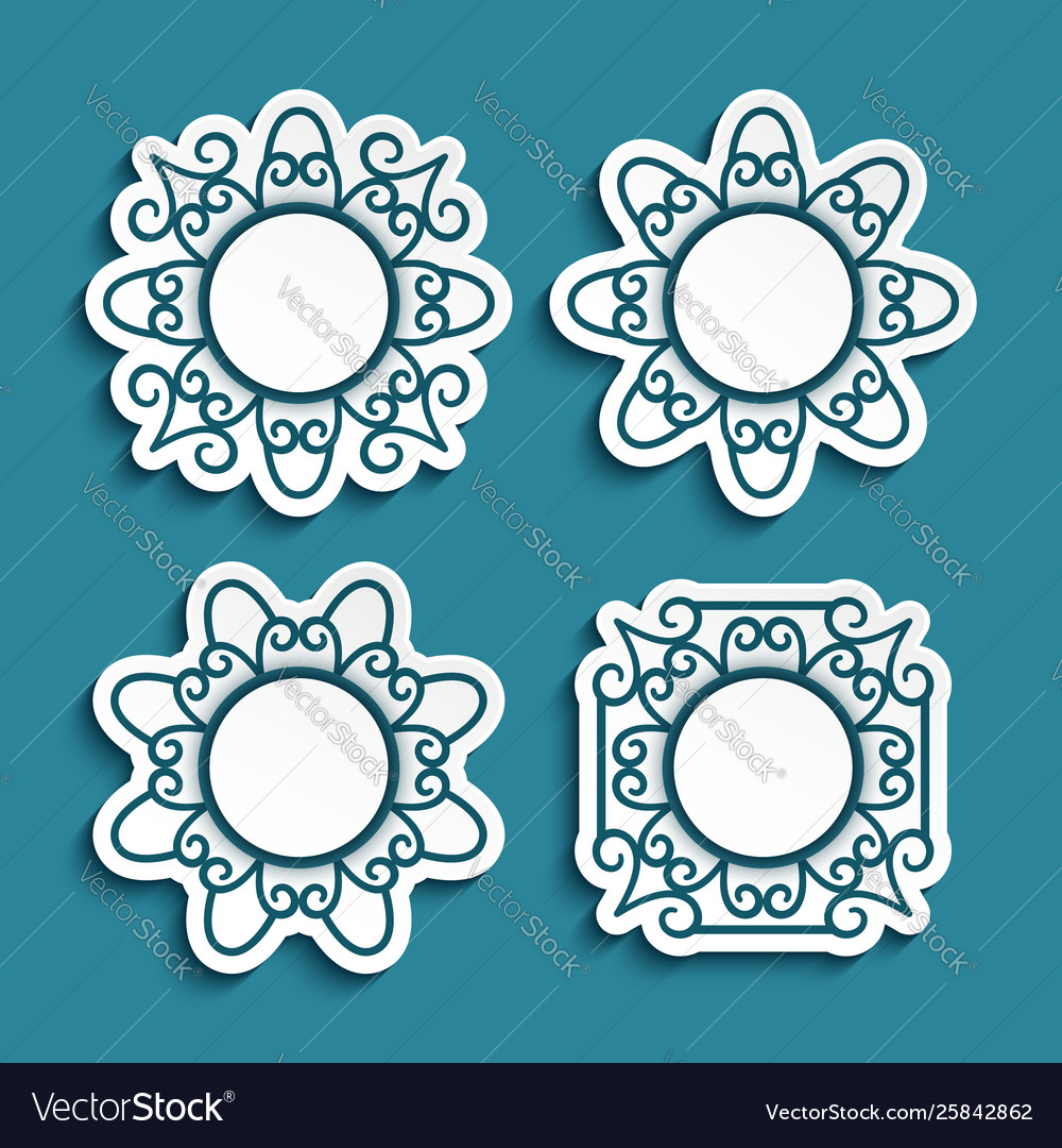 Set cutout paper labels with ornamental borders