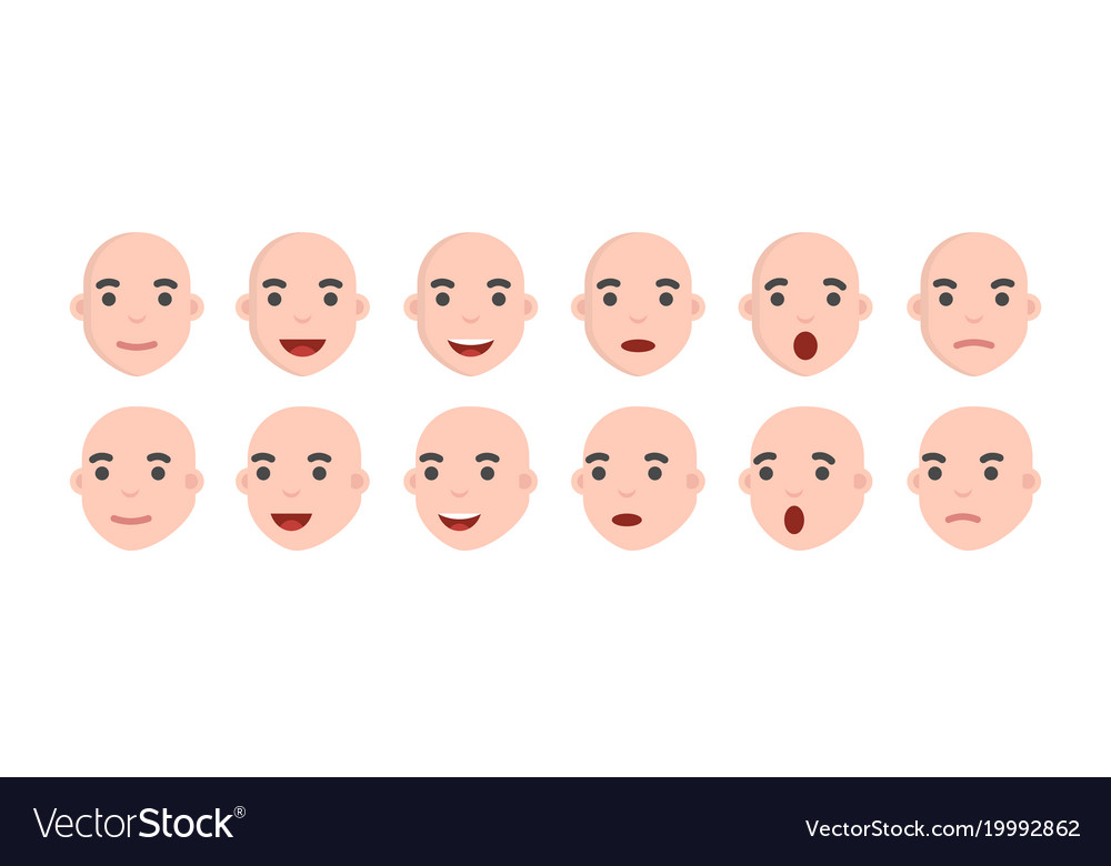 Set of male emoji characters emotion icons in