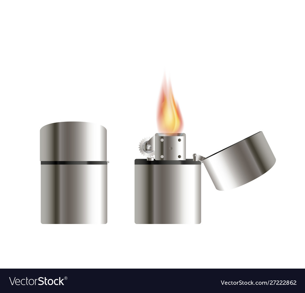Steel lighter on a white background
