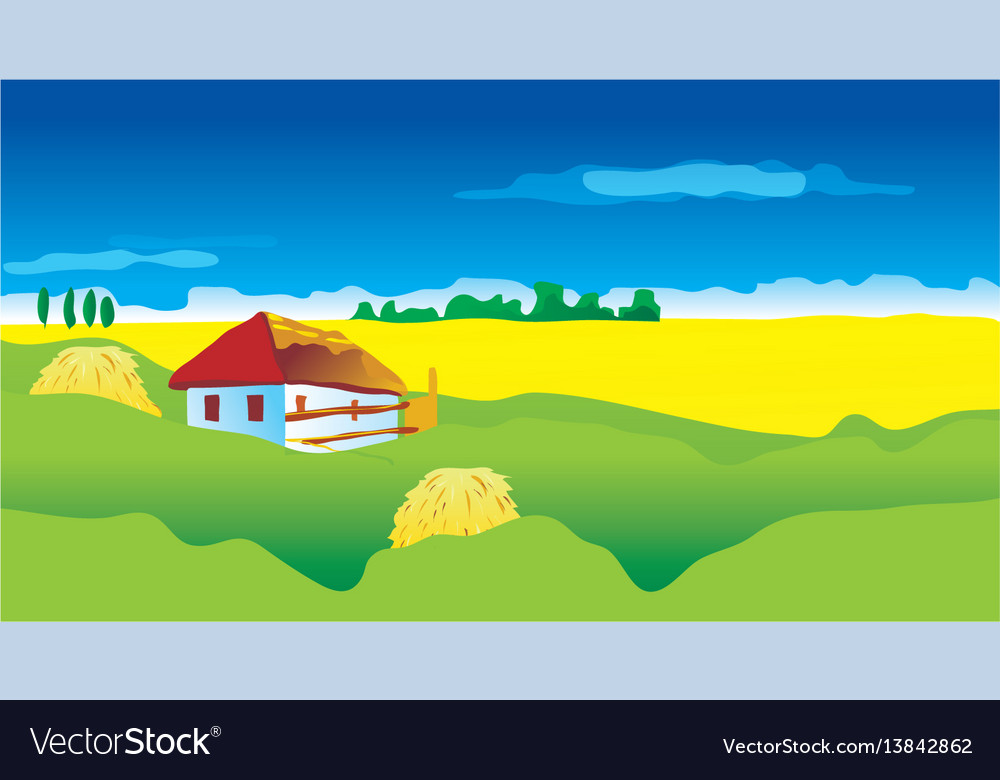 Ukrainian landscape with country house