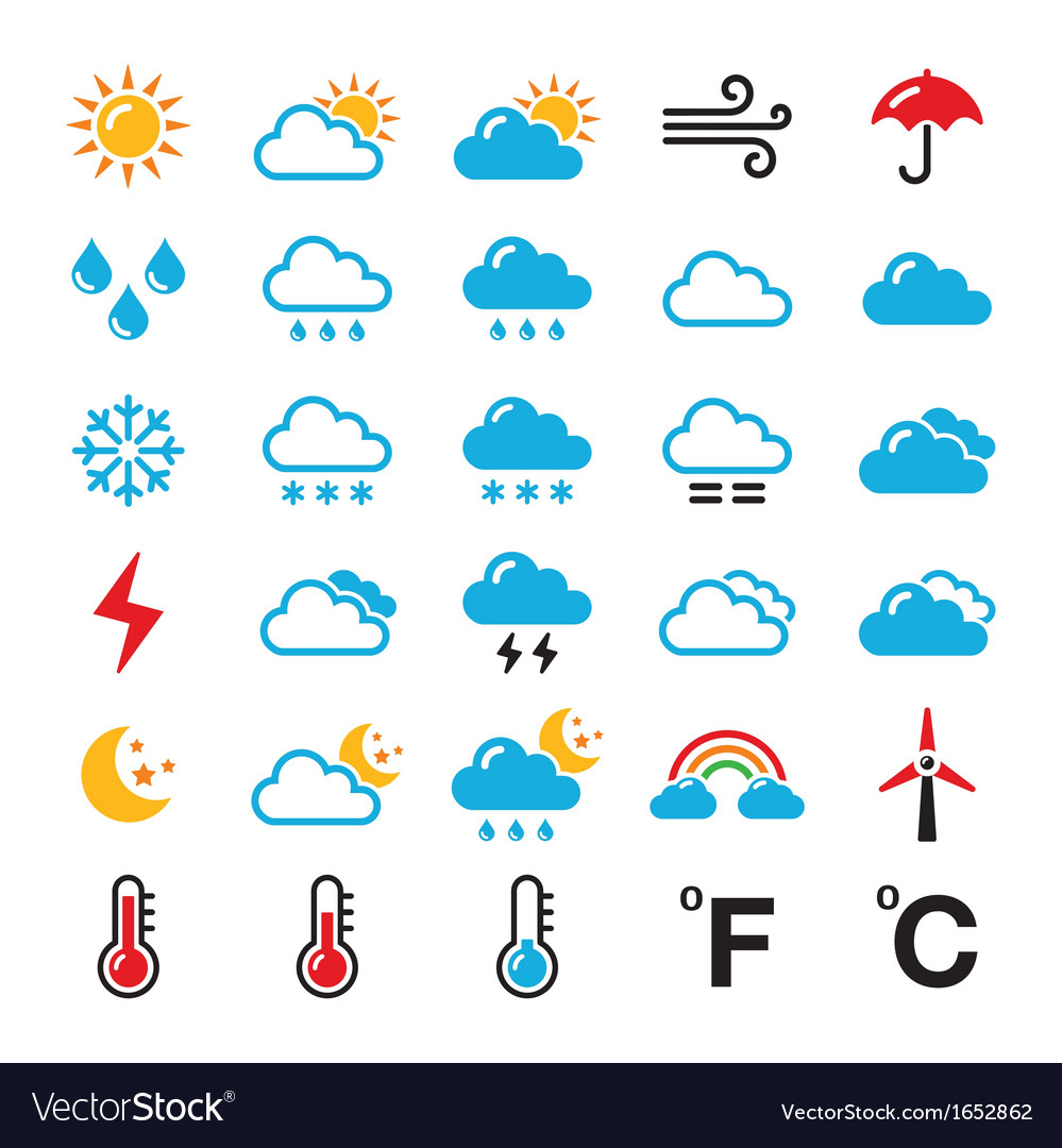 Weather forecast colorful icons set Royalty Free Vector  Weather forecas...