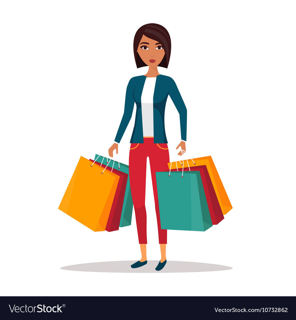 Woman with shopping bags Shop sale