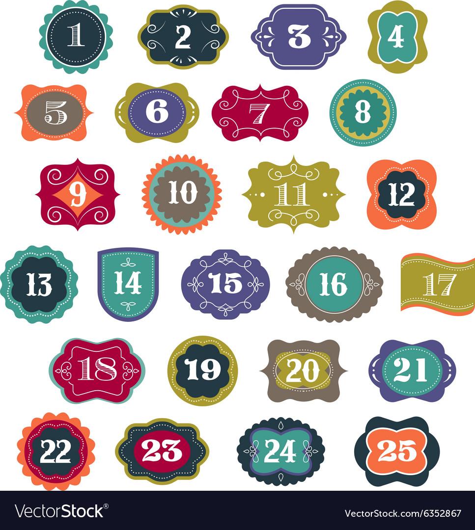 Advent Calendar - tags labelselements vector image
