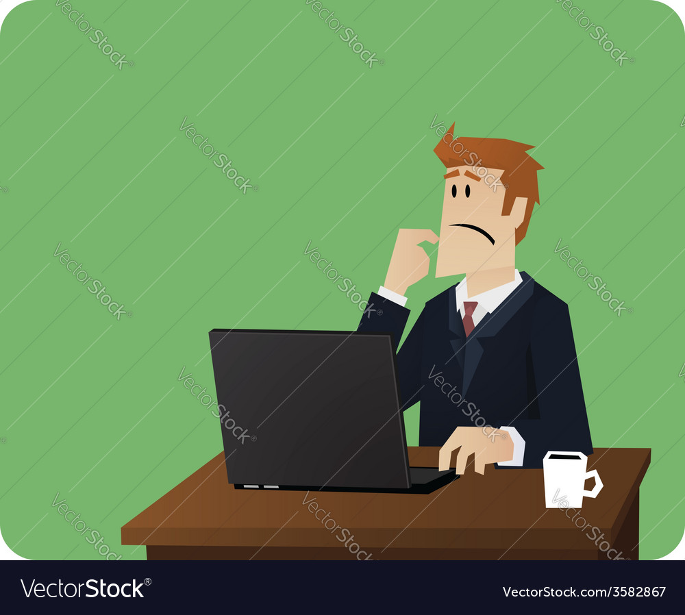 Business man thinking behind computer desk