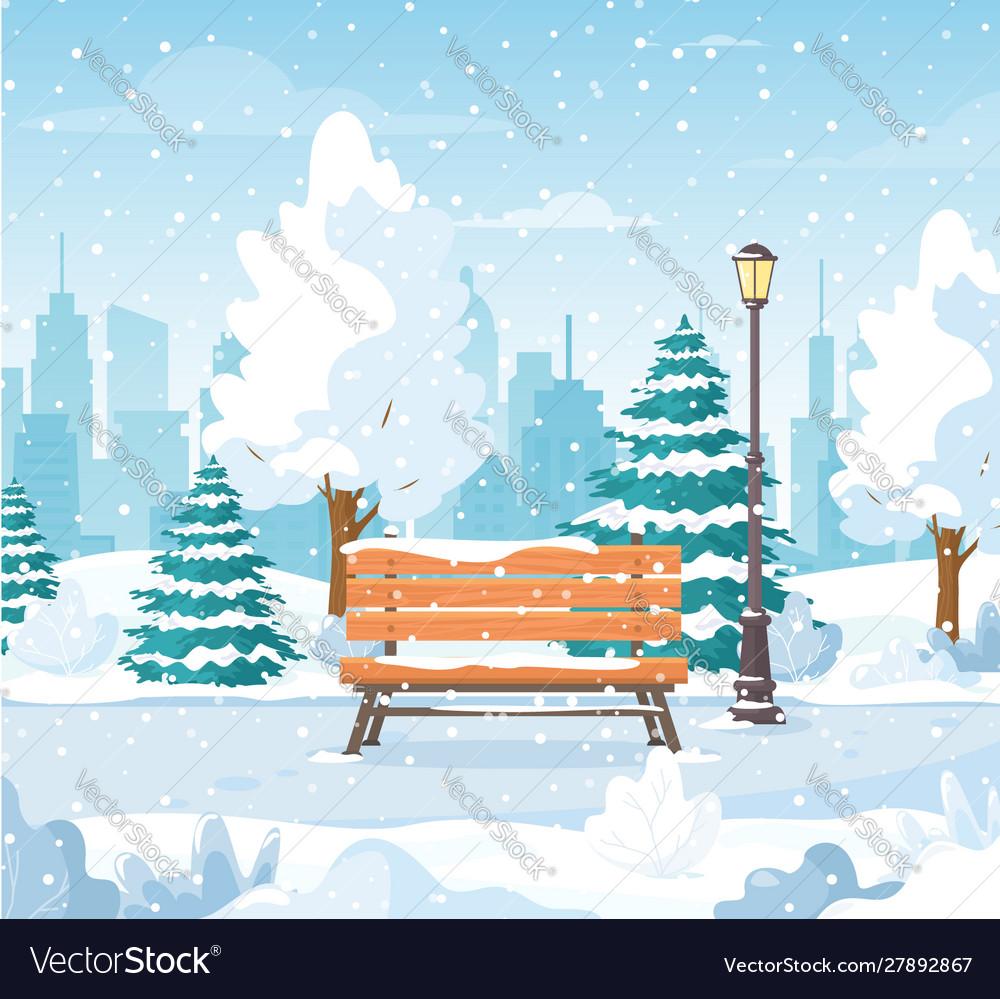 Christmas snowy winter city park