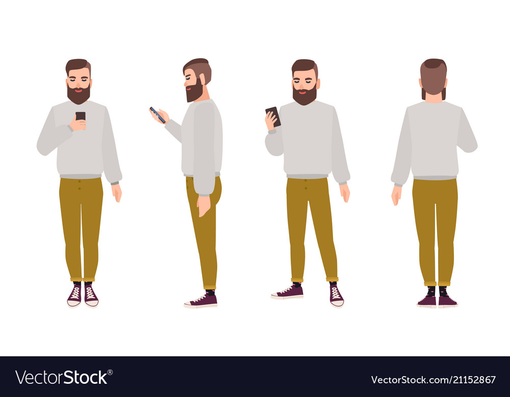 Cute smiling young hipster man with beard dressed vector image
