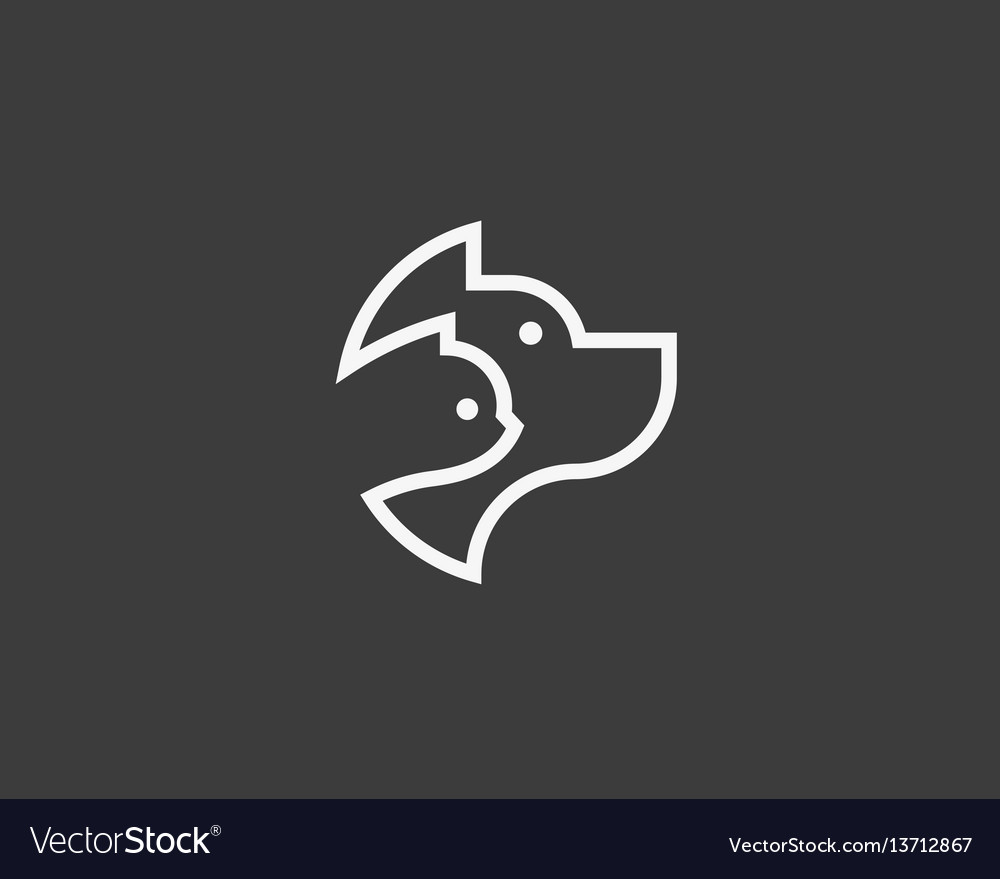 Dog and cat linear logo design pet store logotype vector image