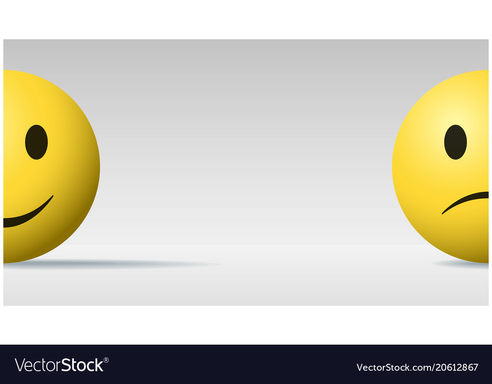 Happy And Sad Face Ball Emoji Background Vector Image