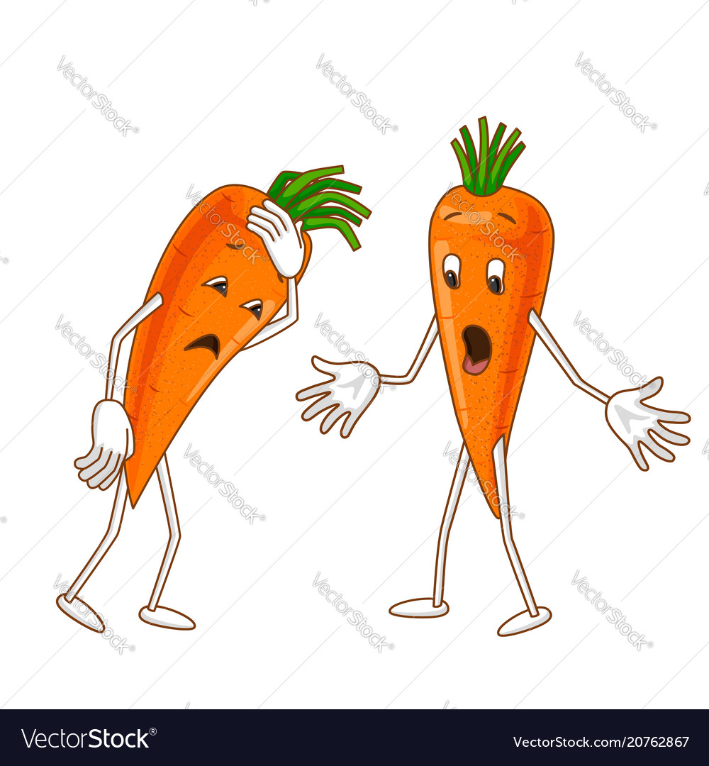 Sad and surprised emotional vegetable